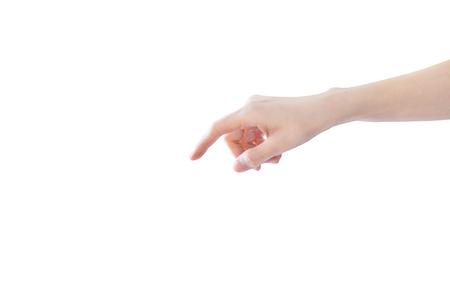 Finger point downward isolated on white background