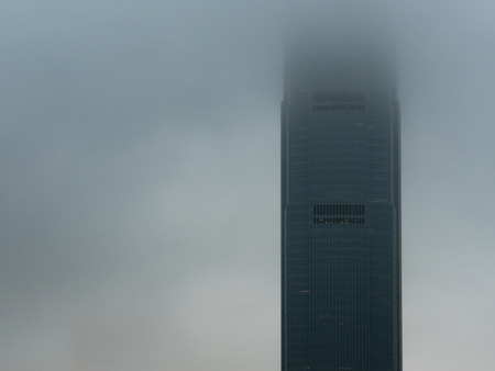 Fog covered business building with copy space.