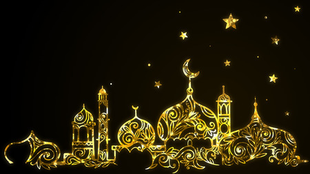 Islamic Eid Mubarak Ramadan Kareem with gold mosque, crescent moon, stars background. 写真素材