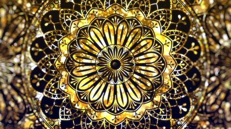 Golden Ramadan Eid Mubarak greeting background. 写真素材