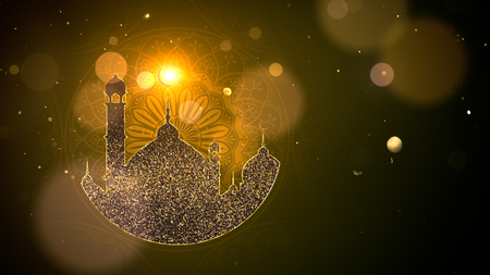 Ramadan background with mosque, gold theme.