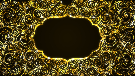 Islam Ramadan frame with golden arabesque wave outlines and space for your text.