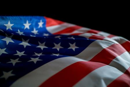USA flag on black background.