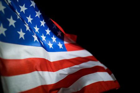 American flag on black background. Reklamní fotografie