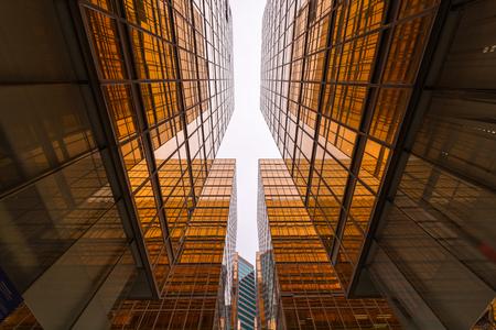 Gold skyscraper contemporary in business district.