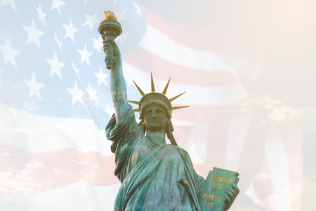 Image of double exposure statue of liberty and USA flag. Background for Independence day or Memorial day. Reklamní fotografie