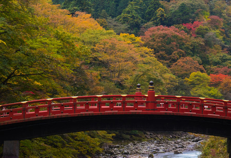 Shinkyo bridge with stream in autumn forest, beautiful nature landscape.