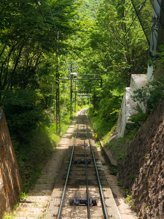 Railway of cable car at Mt. Rokko.