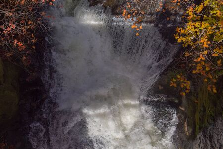 Top view of beautiful waterfall with colorful trees in autumn forest.