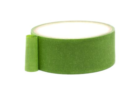Green sticky tape isolated on white background.