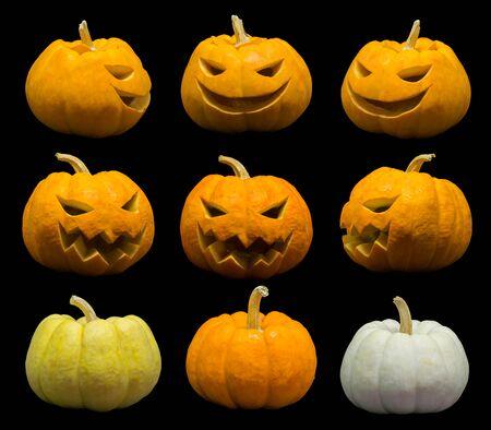 Jack o lantern faces and pumpkins set for halloween. Standard-Bild