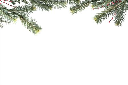 Christmas fir branches and berry frame with copy space on white background.