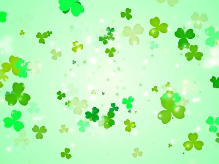 Happy clover leafs for St. Patrick's day in green color background.