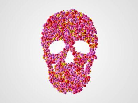 Skull shape of covid-19 virus (coronavirus) on white background, 3d rendering.
