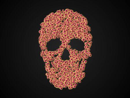 The skull shaped covid-19 virus (coronavirus 2019) on black background, 3d rendering. Stock Photo