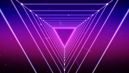 Triangle grid light 80's retro style futuristic background.