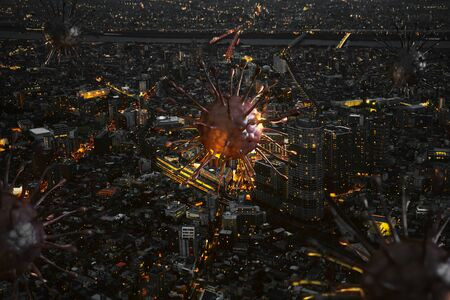 Covid-19 or coronavirus over the city at night shows the spread of the virus in big city. 3d rendering background.