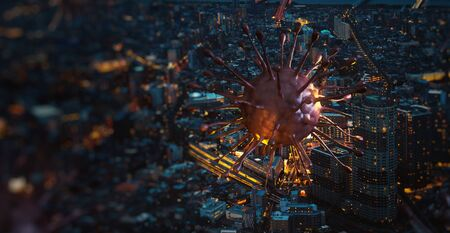 Image of covid-19 virus cell (coronavirus 2019) above in the city night. Concept of spread of the virus in big city, 3d rendering background.