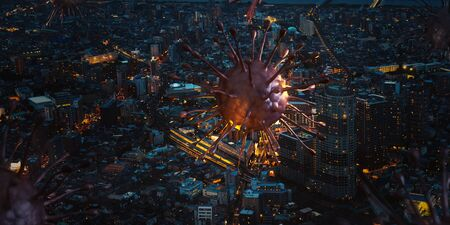 Corona virus covid-19 over the city night view, it's a concept of the virus spread in big city, 3d rendering background.