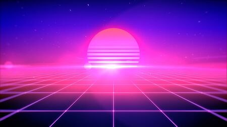 80s retro style abstract background with sun, space and perspective grid lights, 3d rendering.