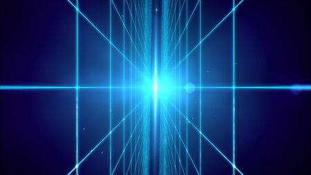 Futuristic blue laser grid perspective technology background.