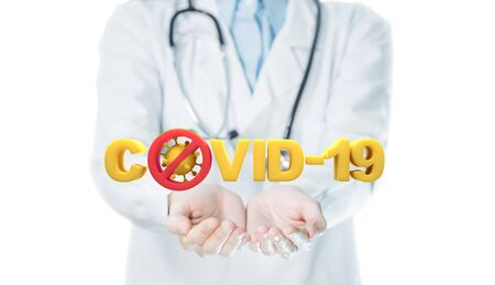 Covid-19 virus text on hands doctor for concept of stopping spread coronavirus.