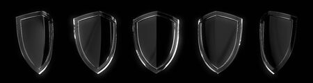 Set of glass protection shield design isolated on black background.