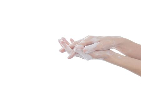 Washing hands rubbing with soap isoated on white background for hygiene concept.