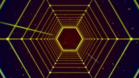 Futuristic tunnel hexagon shape structure abstract background. Stock Photo