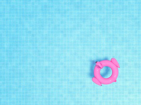 Top view of pink flamingo floats in swimming pool and blue water with copy space for summer background concept, 3d rendering.