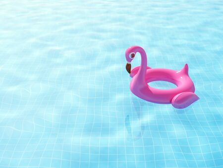 Swimming pool with float pink inflatable flamingo on ripple blue water with space for your text, 3d rendering summer background.