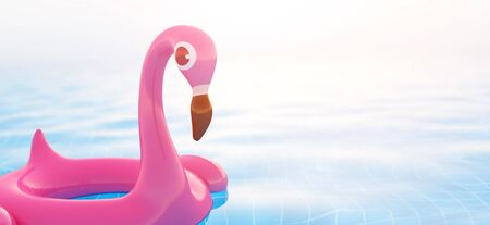 3d rendering of pink flamingo float in swimming pool with copy space for your text for summer holiday concept. Stock Photo