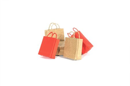 Paper shopping bags isolated on white.