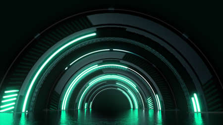Futuristic sci-fi virtual technology tunnel with green lights background. Stock Photo
