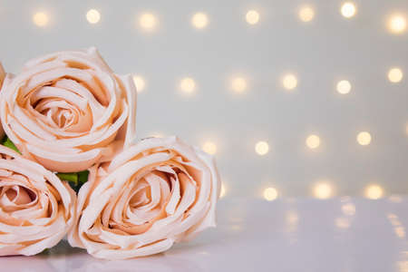 Sweet rose in bokeh lights with copy space for text. Pastel and clean love valentine day concept.