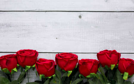 Red rose flower on vintage white wood with copy space for top view background valentine or love concept. Banco de Imagens