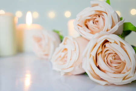 Beige roses on white with blurred candles for Valentine day, love or wedding theme.