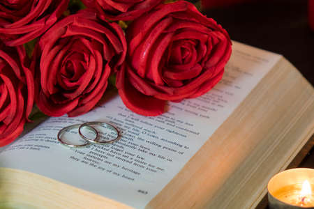 Wedding rings on book with red rose. Фото со стока