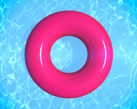 Swimming ring donut float on blue swimming pool.