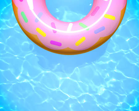 Inflatable rubber ring on swimming pool water