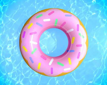 Top view of summer pool party concept with rubber ring donut toy in the swimming pool, 3d rendering. Фото со стока