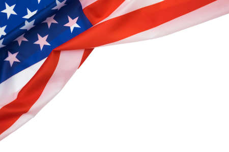 American flag on white background with copyspace for text. Фото со стока