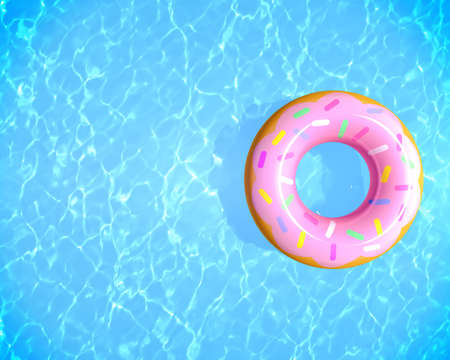 Top view summer background. Inflatable rubber donut ring floating on blue water in swimming pool with copy space, 3d rendering.