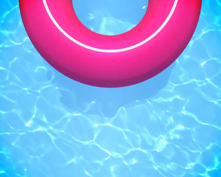 Pink rubber ring in a refreshing blue swimming pool