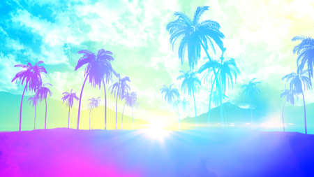 Tropical palm tree with sun light on sunrise sky and cloud for summer vacation party