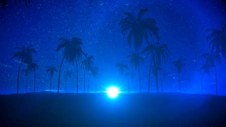 Silhouettes of tropical summer night with palm trees, star and moon. Night beach party background, 3d rendering. Фото со стока