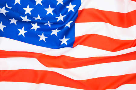 Close up of American flag waving background.