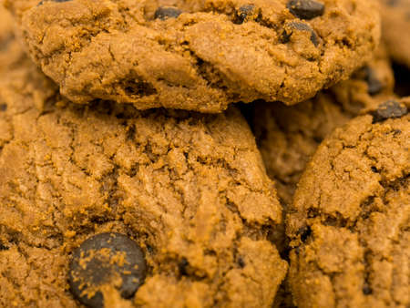 Chocolate chips cookies, close up.