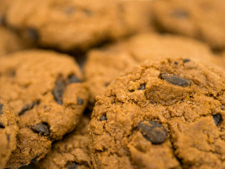 Delicious chocolate chip cookies background.