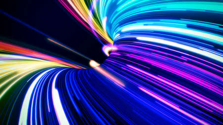 Futuristic colorful neon line lights hole abstract background.
